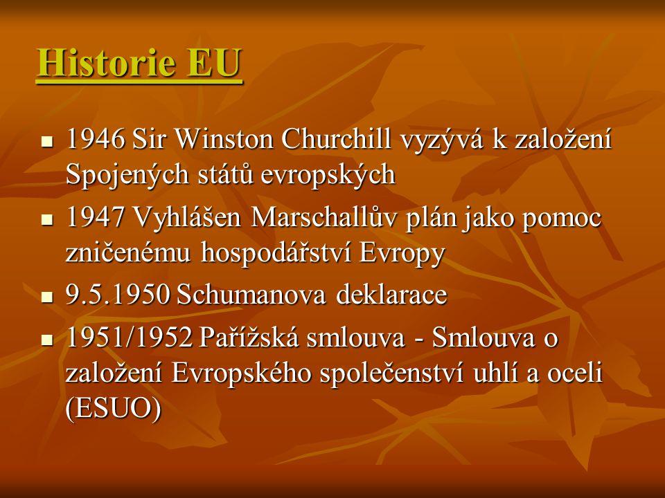 Historie EU 1946 Sir Winston Churchill vyzývá k založení Spojených států evropských.
