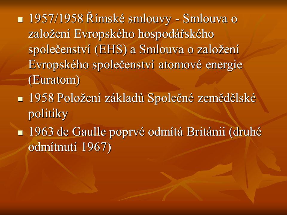 1957/1958 Římské smlouvy - Smlouva o založení Evropského hospodářského společenství (EHS) a Smlouva o založení Evropského společenství atomové energie (Euratom)