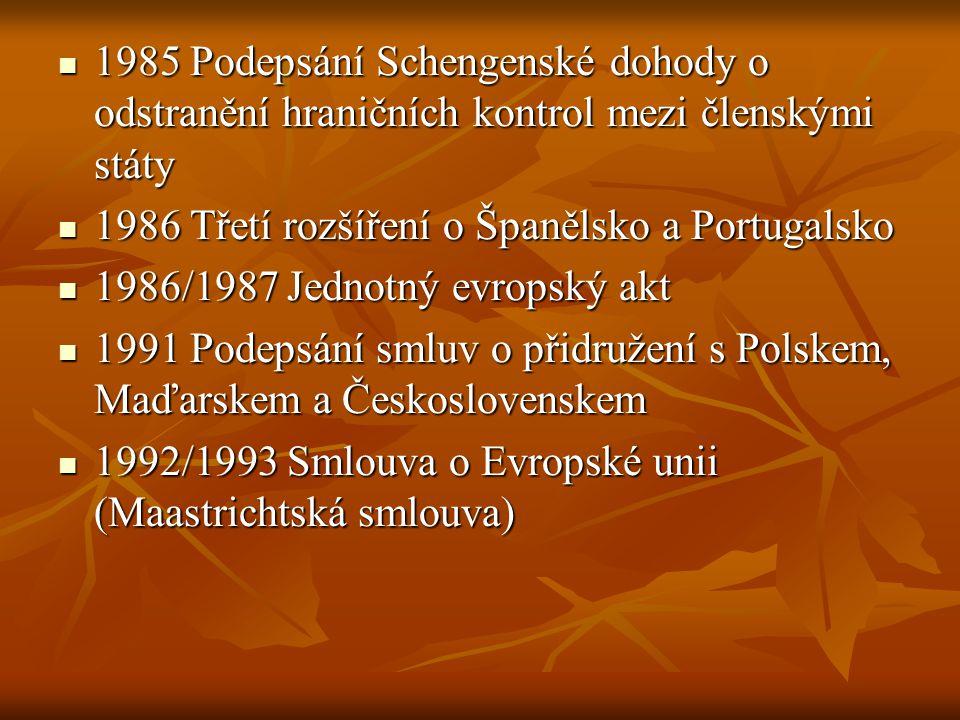 1985 Podepsání Schengenské dohody o odstranění hraničních kontrol mezi členskými státy
