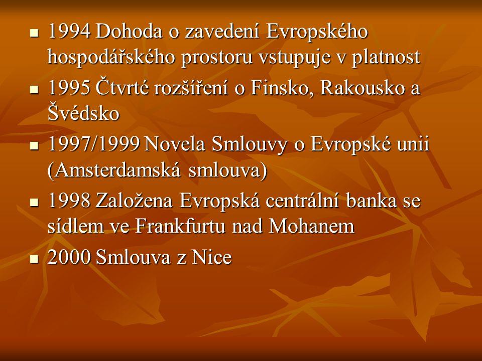 1994 Dohoda o zavedení Evropského hospodářského prostoru vstupuje v platnost