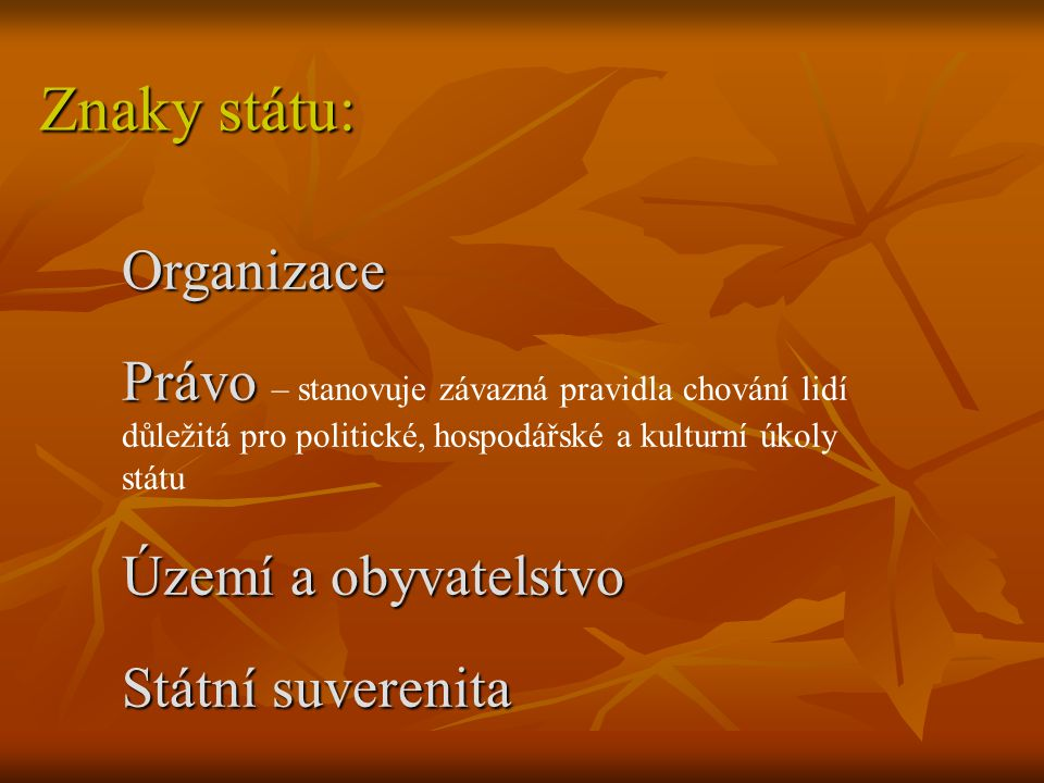 Znaky státu: Organizace