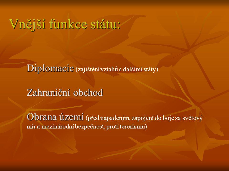 Vnější funkce státu: Diplomacie (zajištění vztahů s dalšími státy)