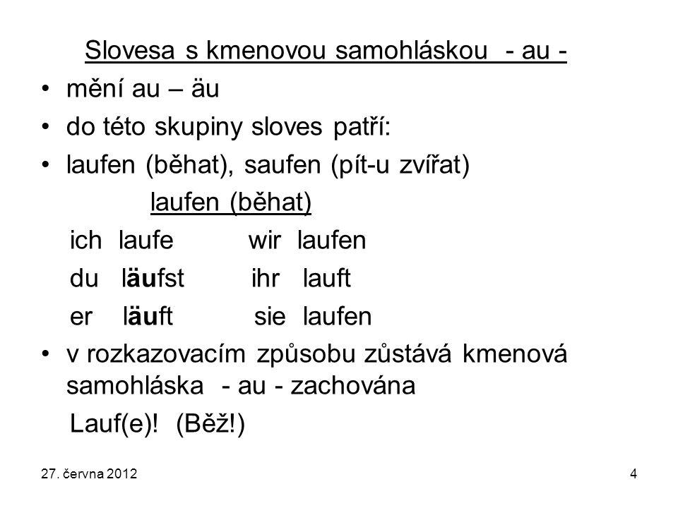 Slovesa s kmenovou samohláskou - au - mění au – äu