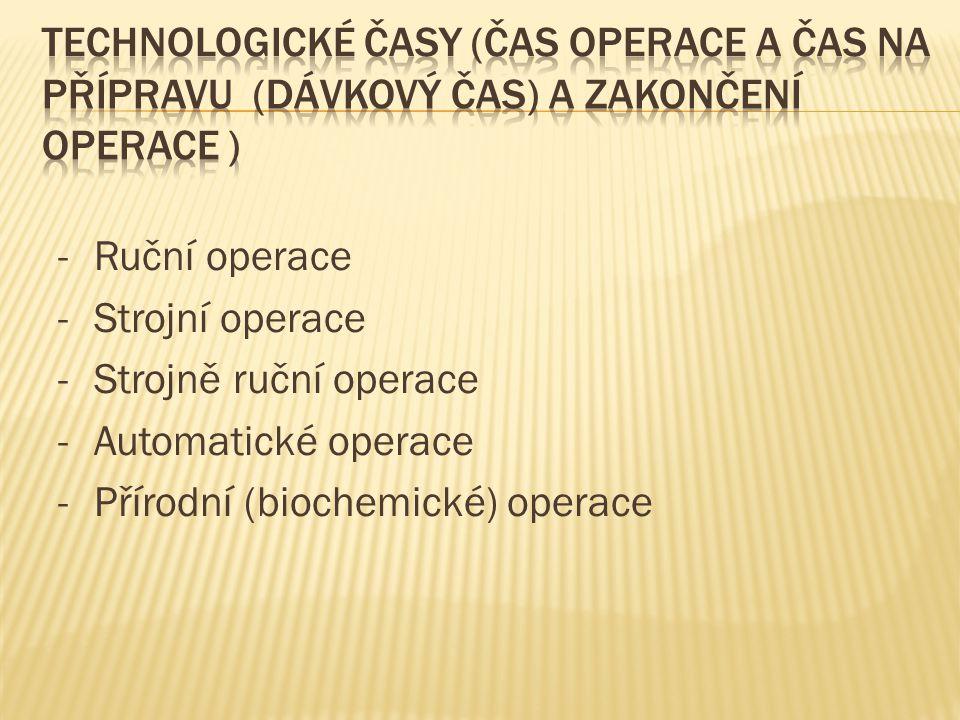 Technologické časy (čas operace a čas na přípravu (dávkový čas) a zakončení operace )