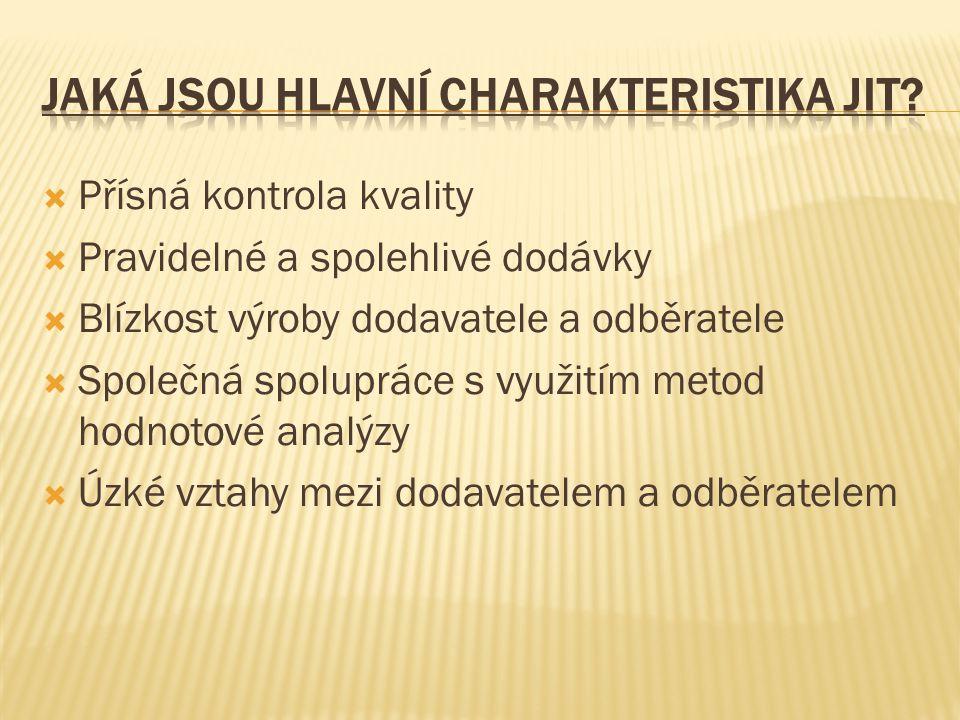 Jaká jsou hlavní charakteristika JIT