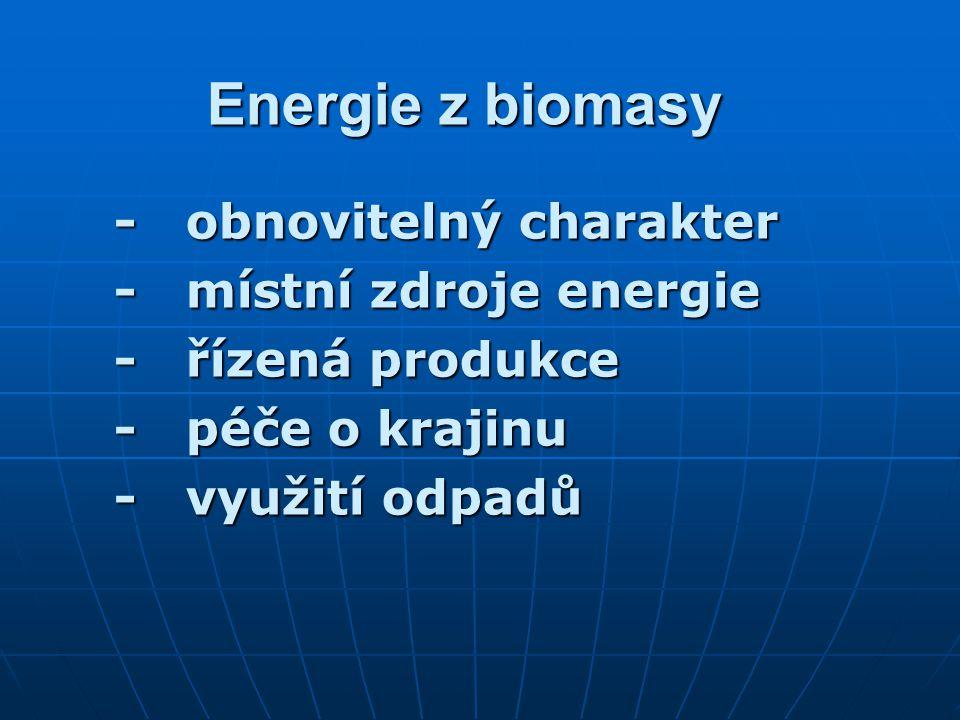 Energie z biomasy - obnovitelný charakter - místní zdroje energie