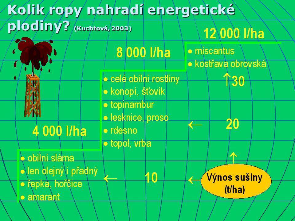 Kolik ropy nahradí energetické plodiny (Kuchtová, 2003)