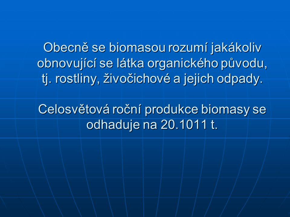 Obecně se biomasou rozumí jakákoliv obnovující se látka organického původu, tj.