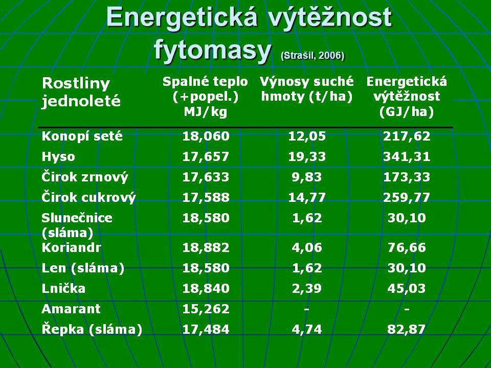 Energetická výtěžnost fytomasy (Strašil, 2006)