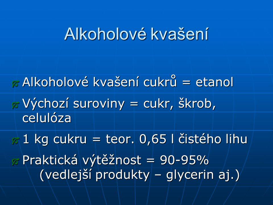 Alkoholové kvašení Alkoholové kvašení cukrů = etanol