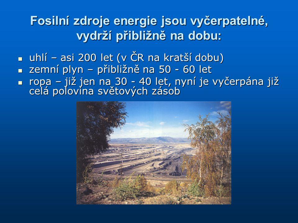 Fosilní zdroje energie jsou vyčerpatelné, vydrží přibližně na dobu: