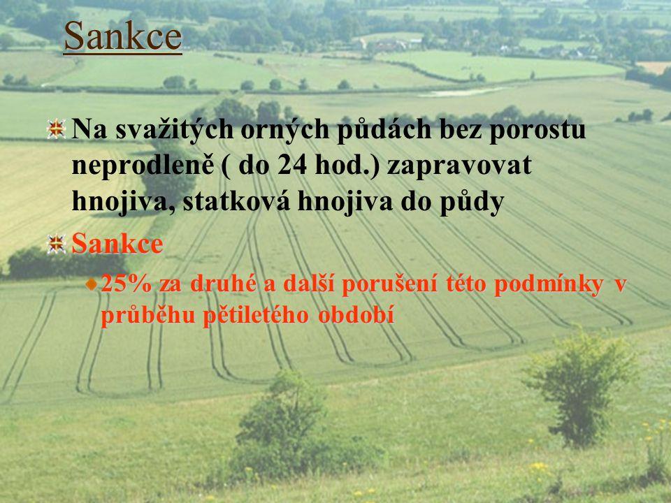 Sankce Na svažitých orných půdách bez porostu neprodleně ( do 24 hod.) zapravovat hnojiva, statková hnojiva do půdy.