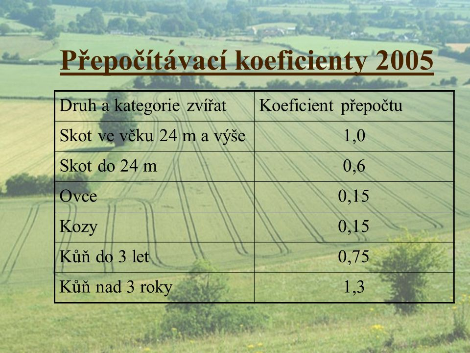 Přepočítávací koeficienty 2005