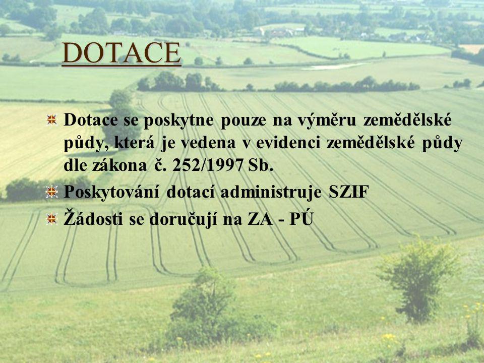 DOTACE Dotace se poskytne pouze na výměru zemědělské půdy, která je vedena v evidenci zemědělské půdy dle zákona č. 252/1997 Sb.