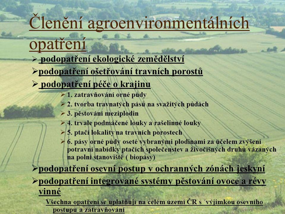Členění agroenvironmentálních opatření