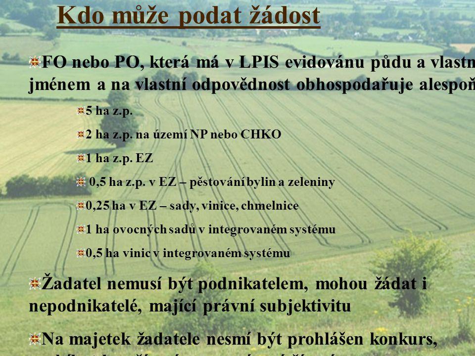 Kdo může podat žádost FO nebo PO, která má v LPIS evidovánu půdu a vlastním jménem a na vlastní odpovědnost obhospodařuje alespoň.
