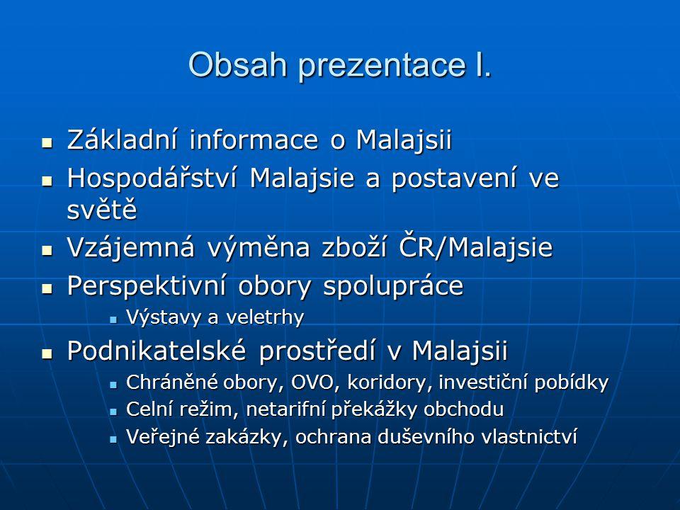Obsah prezentace I. Základní informace o Malajsii