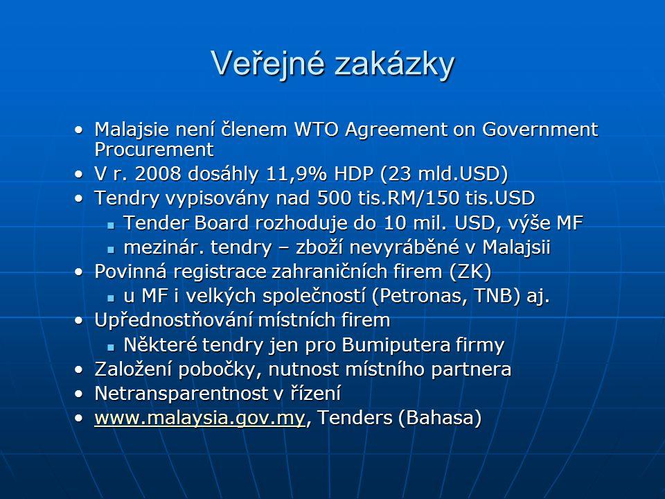 Veřejné zakázky Malajsie není členem WTO Agreement on Government Procurement. V r. 2008 dosáhly 11,9% HDP (23 mld.USD)