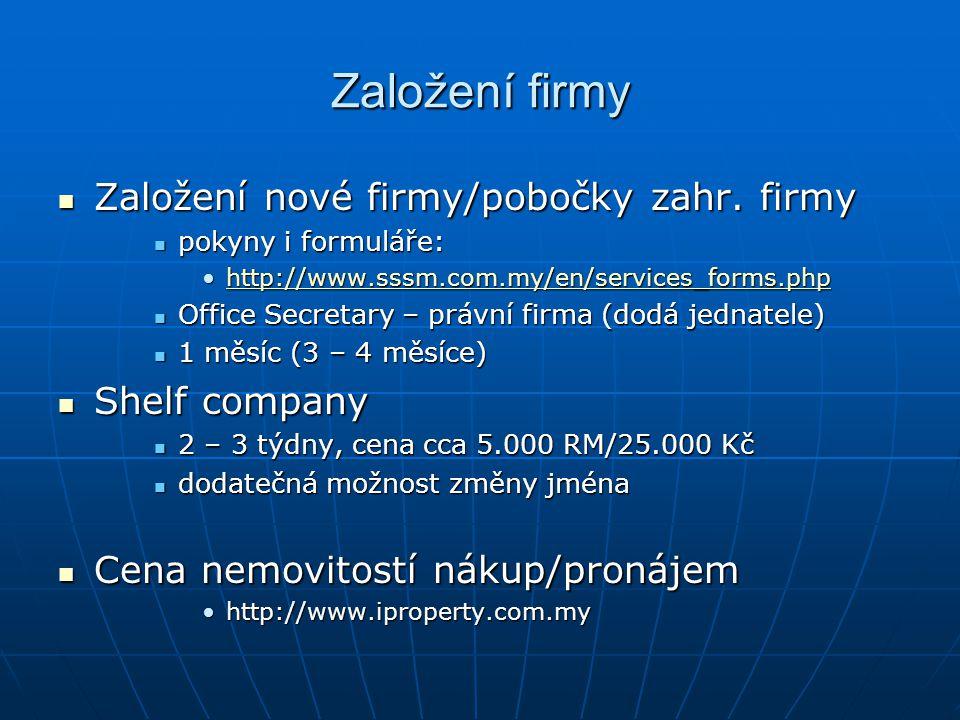 Založení firmy Založení nové firmy/pobočky zahr. firmy Shelf company