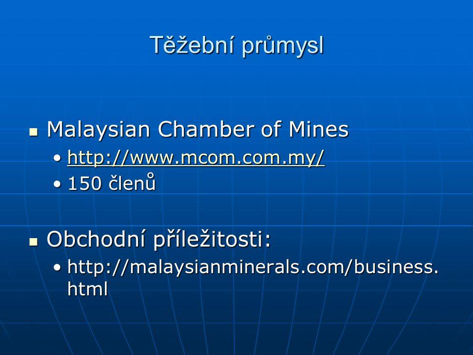 Těžební průmysl Malaysian Chamber of Mines Obchodní příležitosti:
