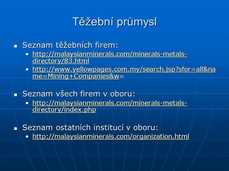 Těžební průmysl Seznam těžebních firem: Seznam všech firem v oboru: