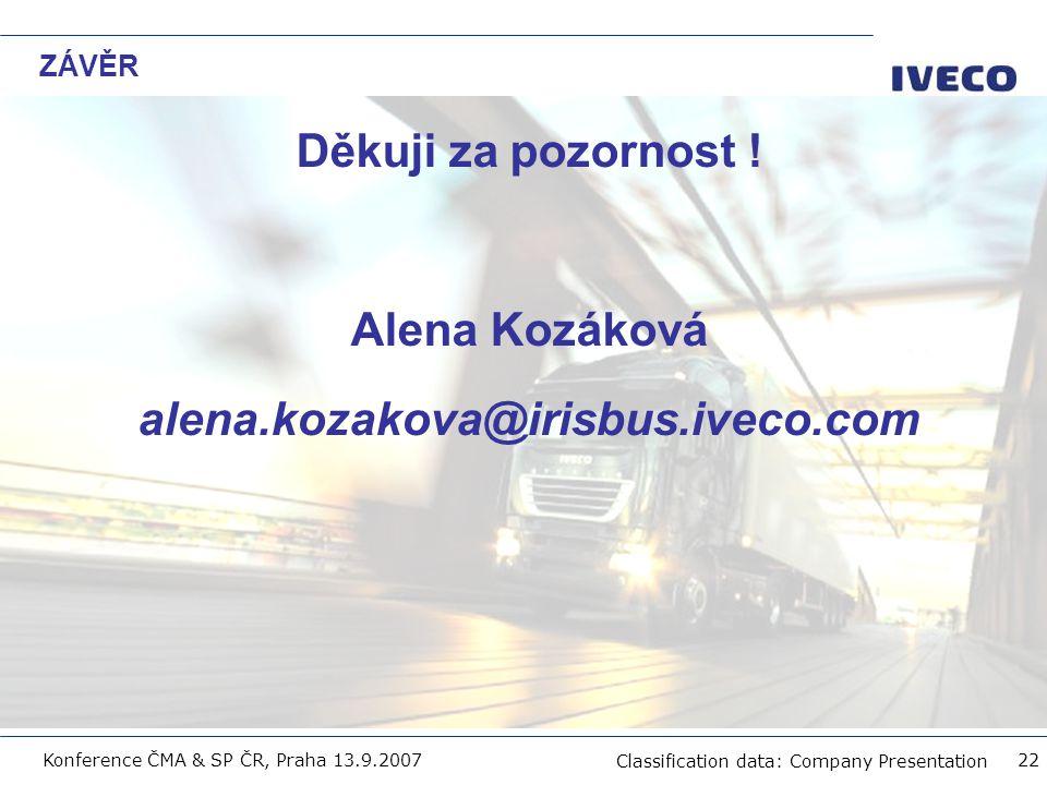 Děkuji za pozornost ! Alena Kozáková alena.kozakova@irisbus.iveco.com