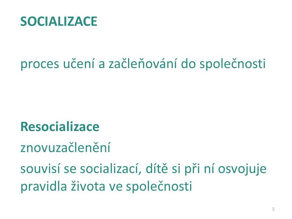SOCIALIZACE proces učení a začleňování do společnosti. Resocializace. znovuzačlenění.