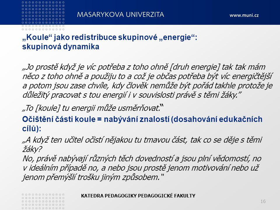 """""""Koule jako redistribuce skupinové """"energie : skupinová dynamika"""
