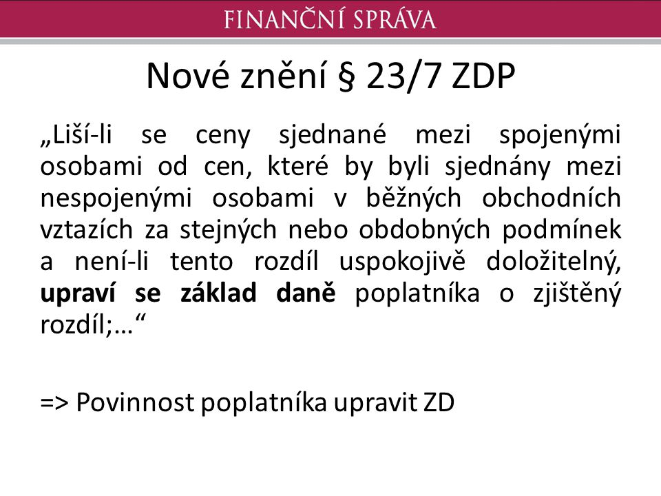 Nové znění § 23/7 ZDP