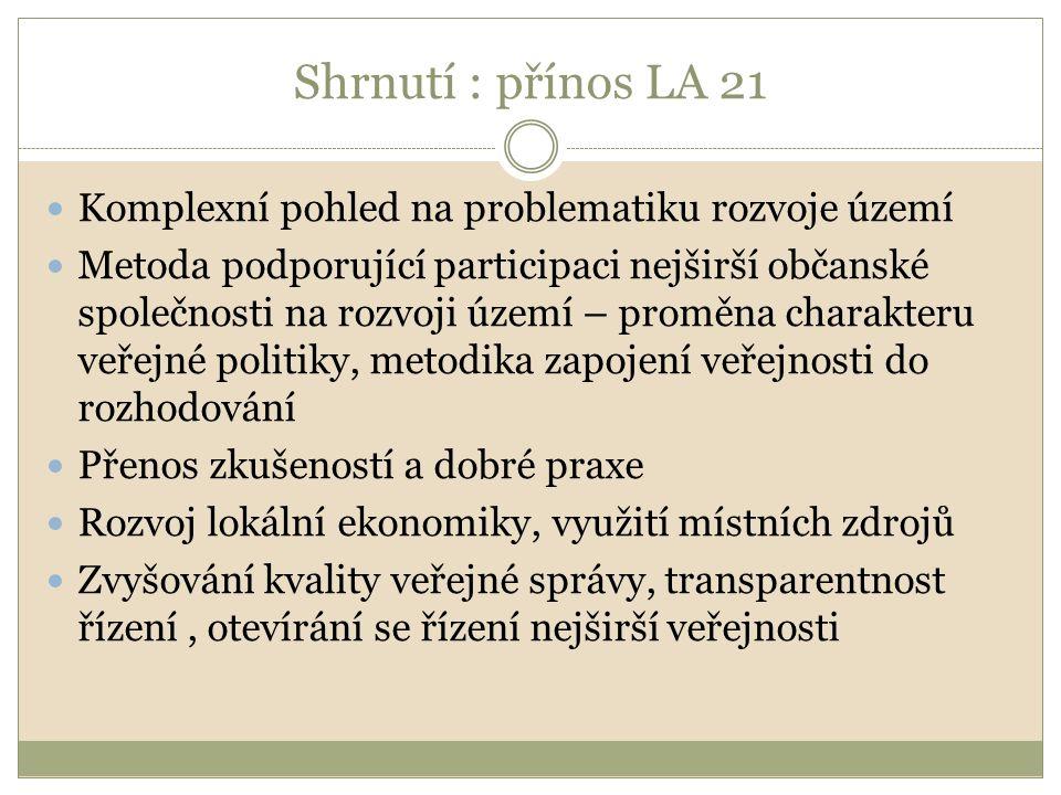 Shrnutí : přínos LA 21 Komplexní pohled na problematiku rozvoje území