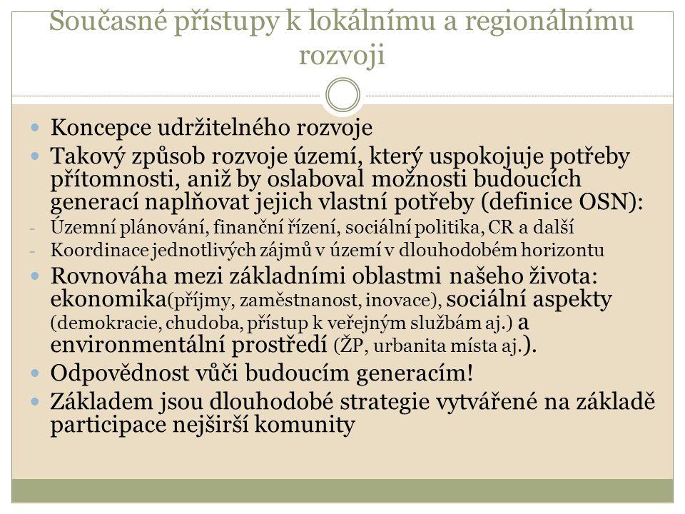Současné přístupy k lokálnímu a regionálnímu rozvoji