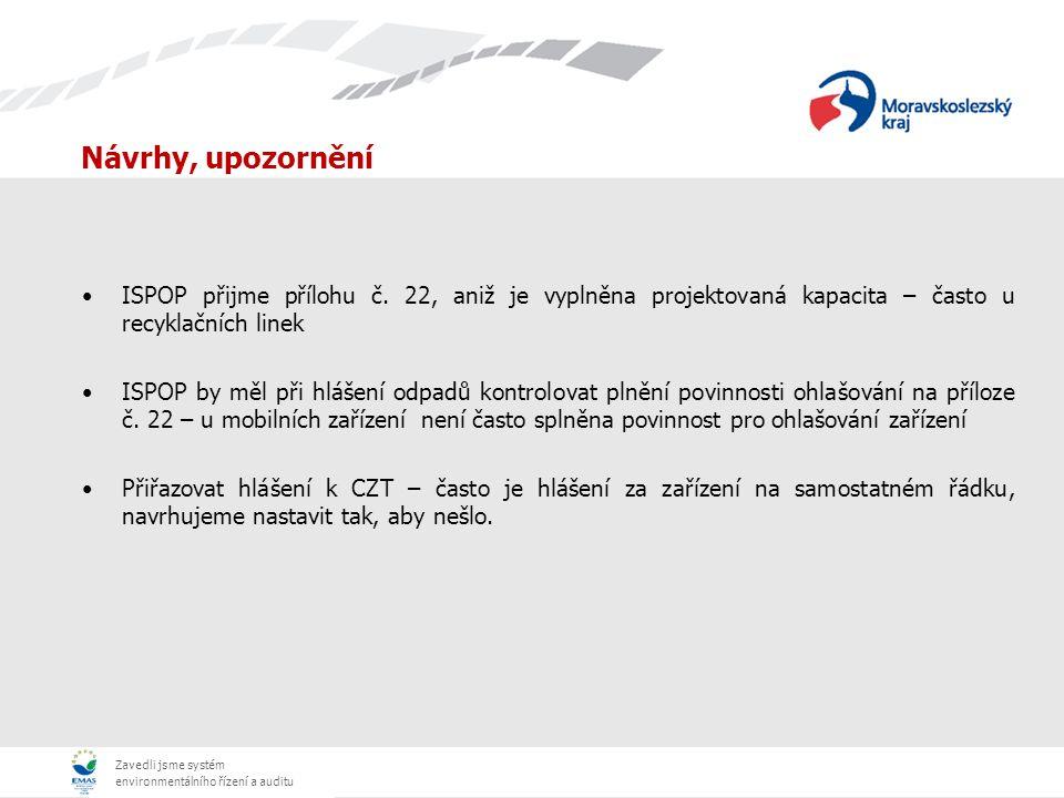 Návrhy, upozornění ISPOP přijme přílohu č. 22, aniž je vyplněna projektovaná kapacita – často u recyklačních linek.
