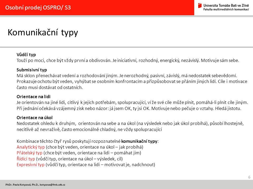 Komunikační typy Osobní prodej OSPRO/ S3 Vůdčí typ
