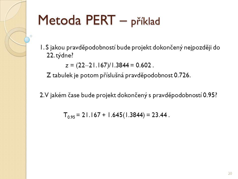 Metoda PERT – příklad 1. S jakou pravděpodobností bude projekt dokončený nejpozději do 22. týdne z = (2221.167)/1.3844 = 0.602 .