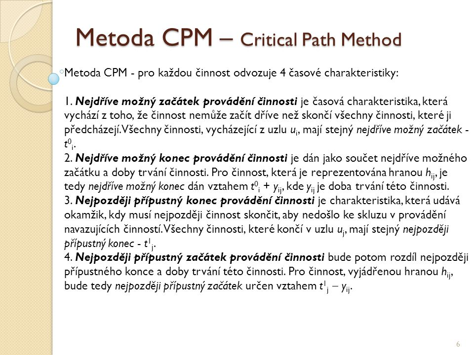 Metoda CPM – Critical Path Method