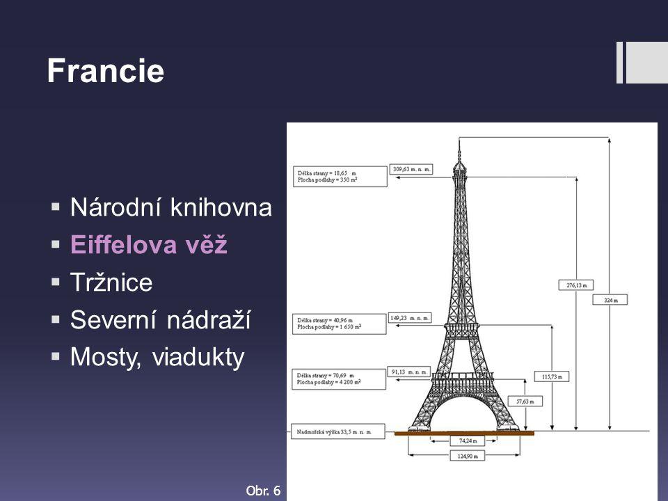 Francie Národní knihovna Eiffelova věž Tržnice Severní nádraží