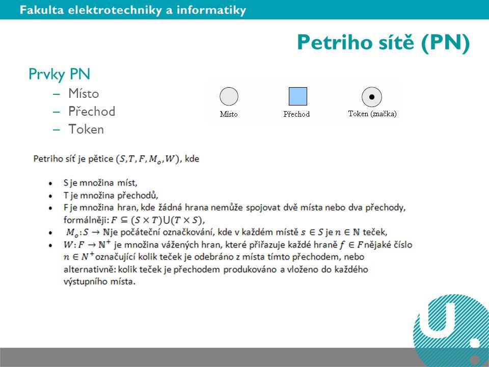 Petriho sítě (PN) Prvky PN Místo Přechod Token Neučit se definice