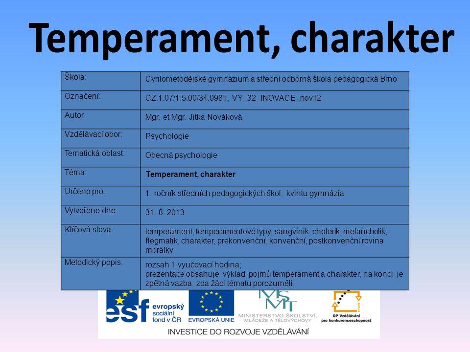 Temperament, charakter