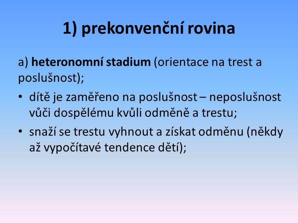 1) prekonvenční rovina a) heteronomní stadium (orientace na trest a poslušnost);