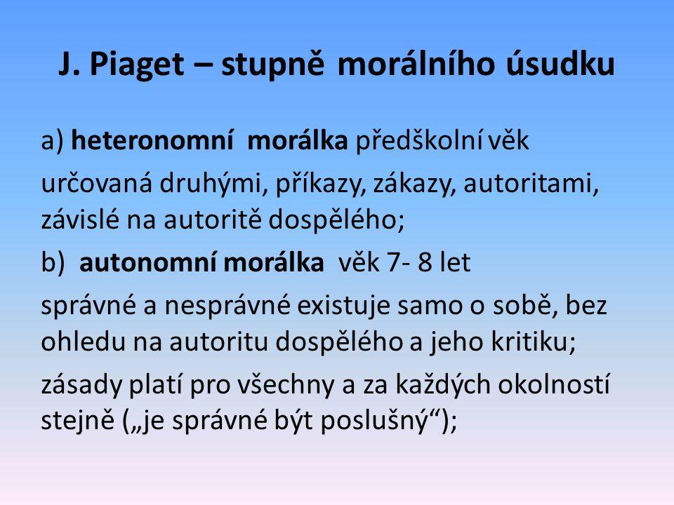 J. Piaget – stupně morálního úsudku