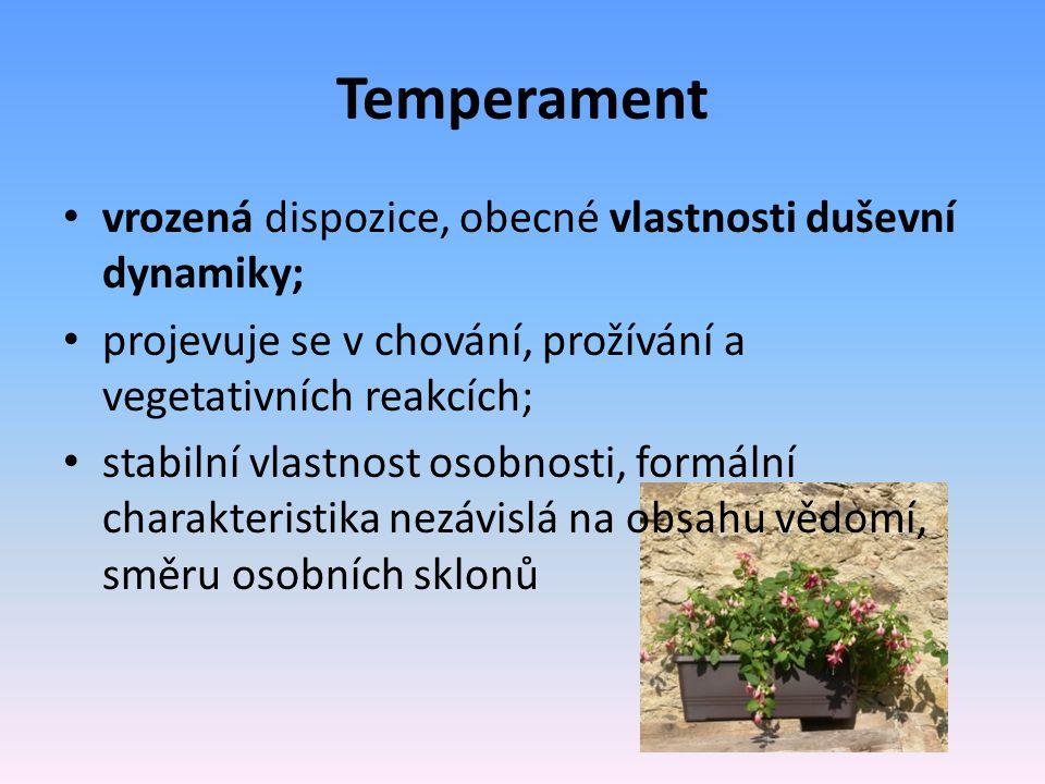 Temperament vrozená dispozice, obecné vlastnosti duševní dynamiky;