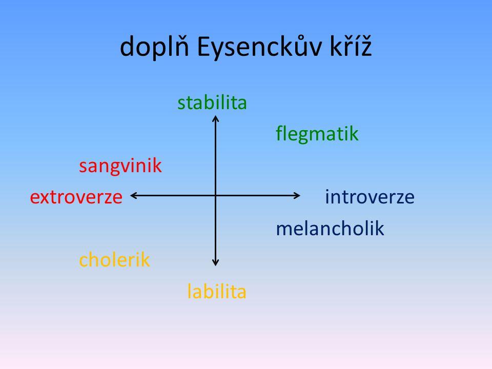 doplň Eysenckův kříž stabilita flegmatik sangvinik