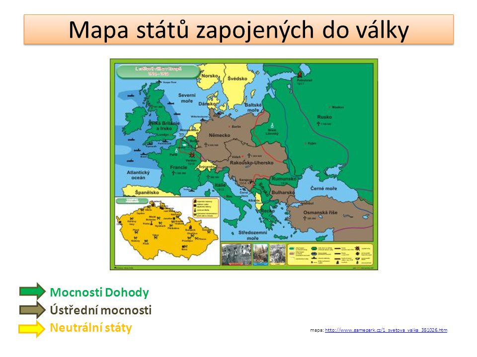 Mapa států zapojených do války
