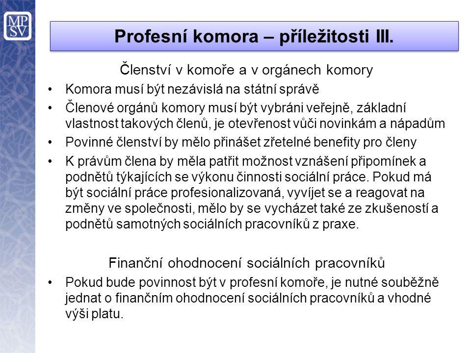 Profesní komora – příležitosti III.
