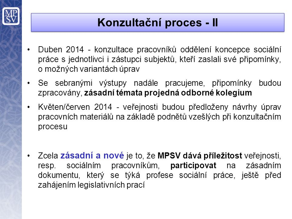 Konzultační proces - II