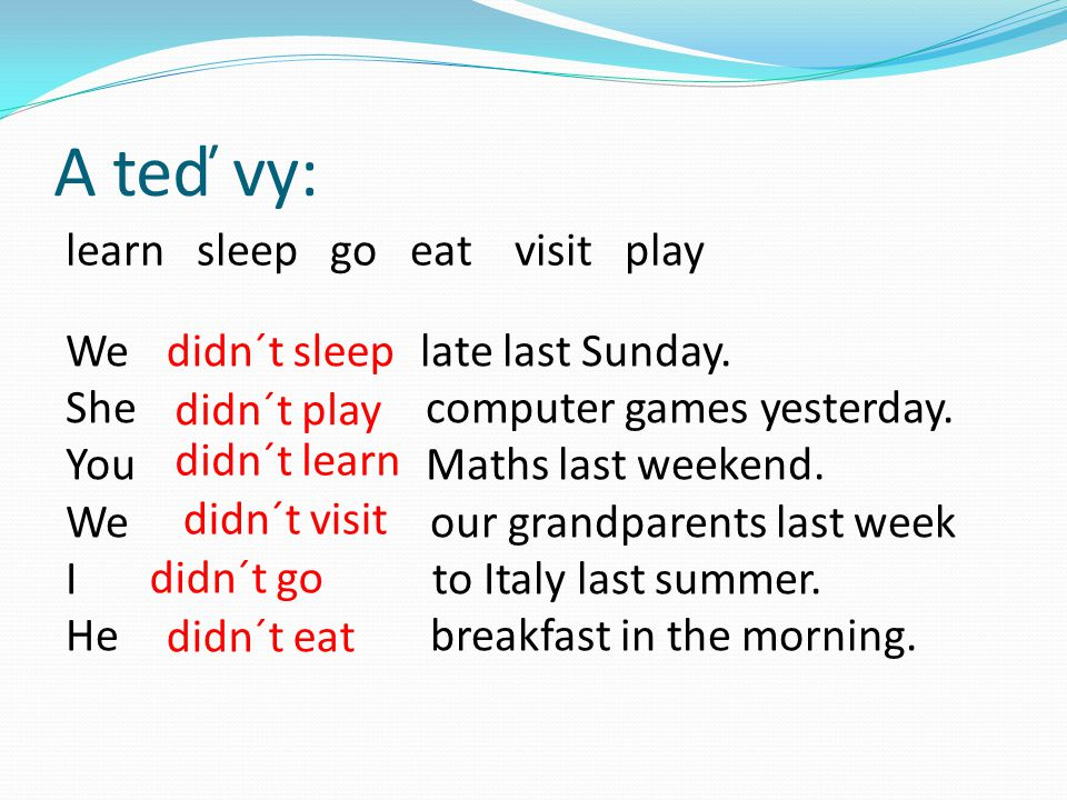 A teď vy: learn sleep go eat visit play We late last Sunday.
