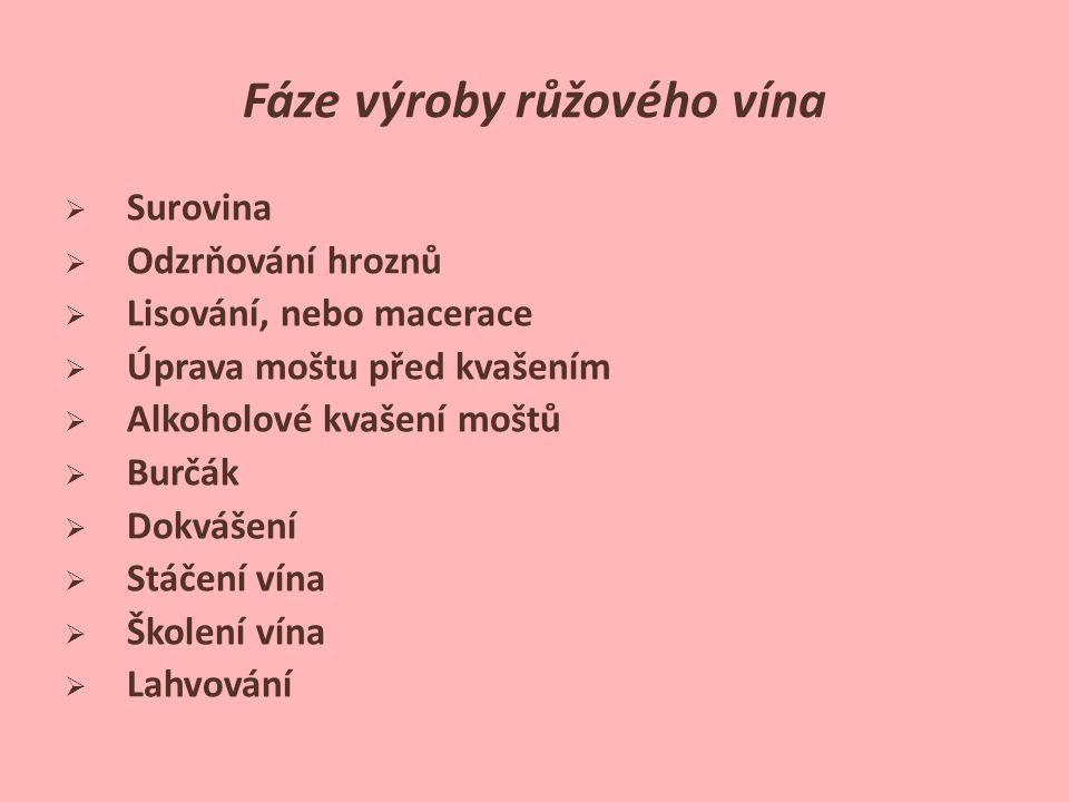 Fáze výroby růžového vína