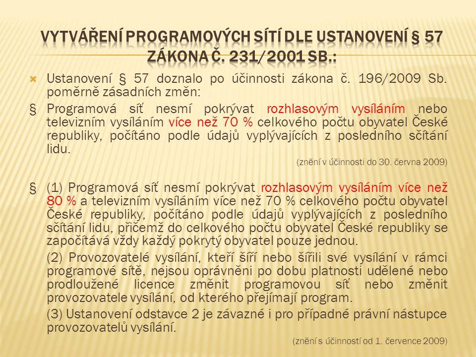 Vytváření programových sítí dle ustanovení § 57 zákona č. 231/2001 Sb