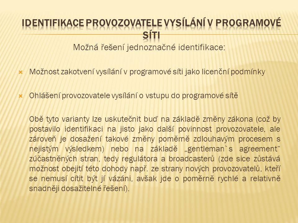 Identifikace provozovatele vysílání v programové síti