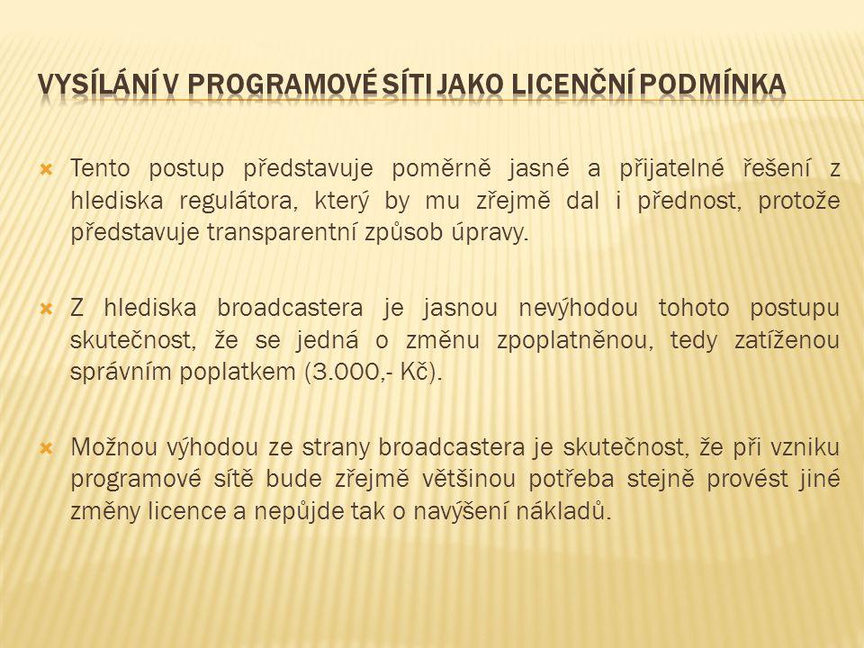 Vysílání v programové síti jako licenční podmínka
